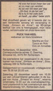 Rouwadvertentie Van Heel